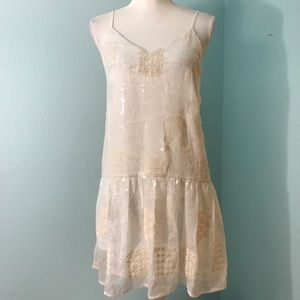 Endless Rose Dropped Waist Dress, White w/Sequins